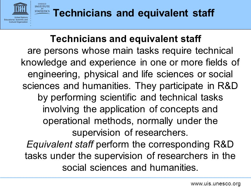 Technicians and equivalent staff