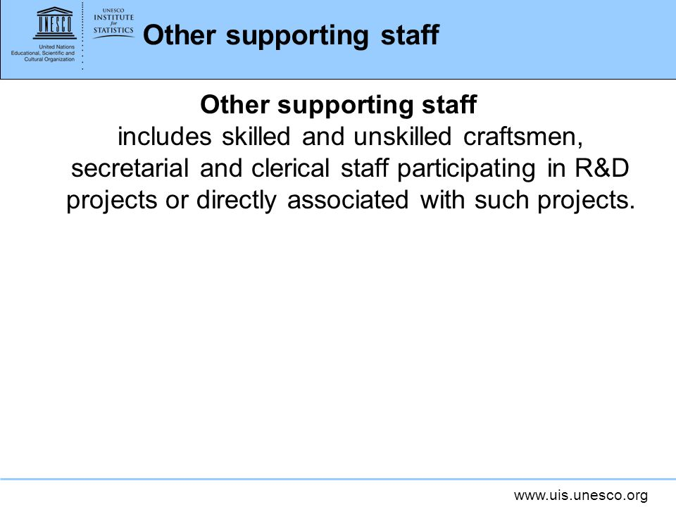 Other supporting staff