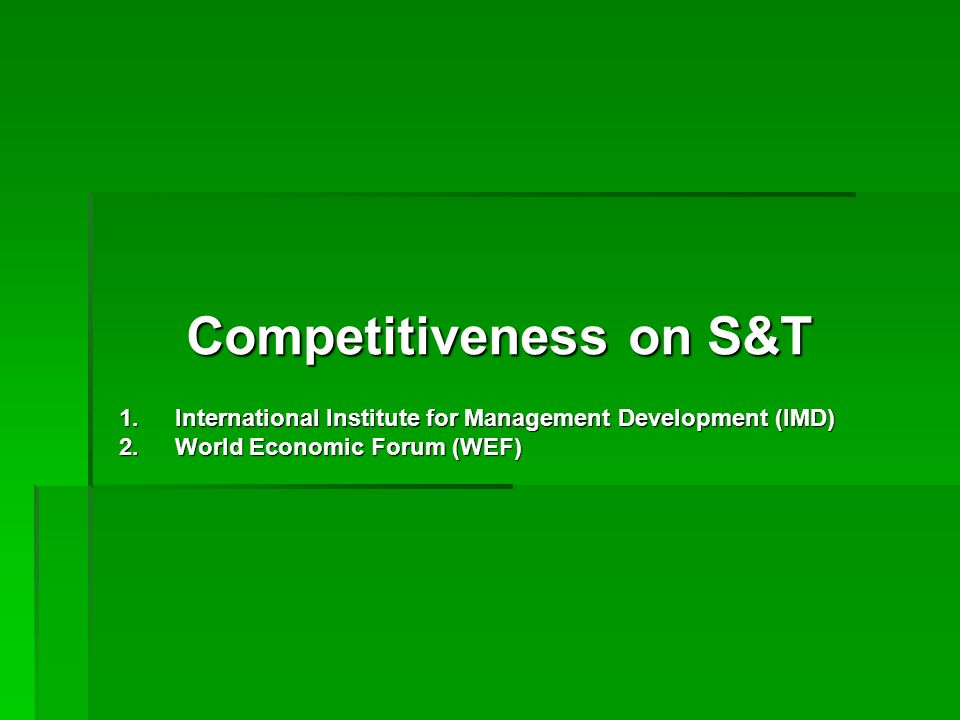 Competitiveness on S&T