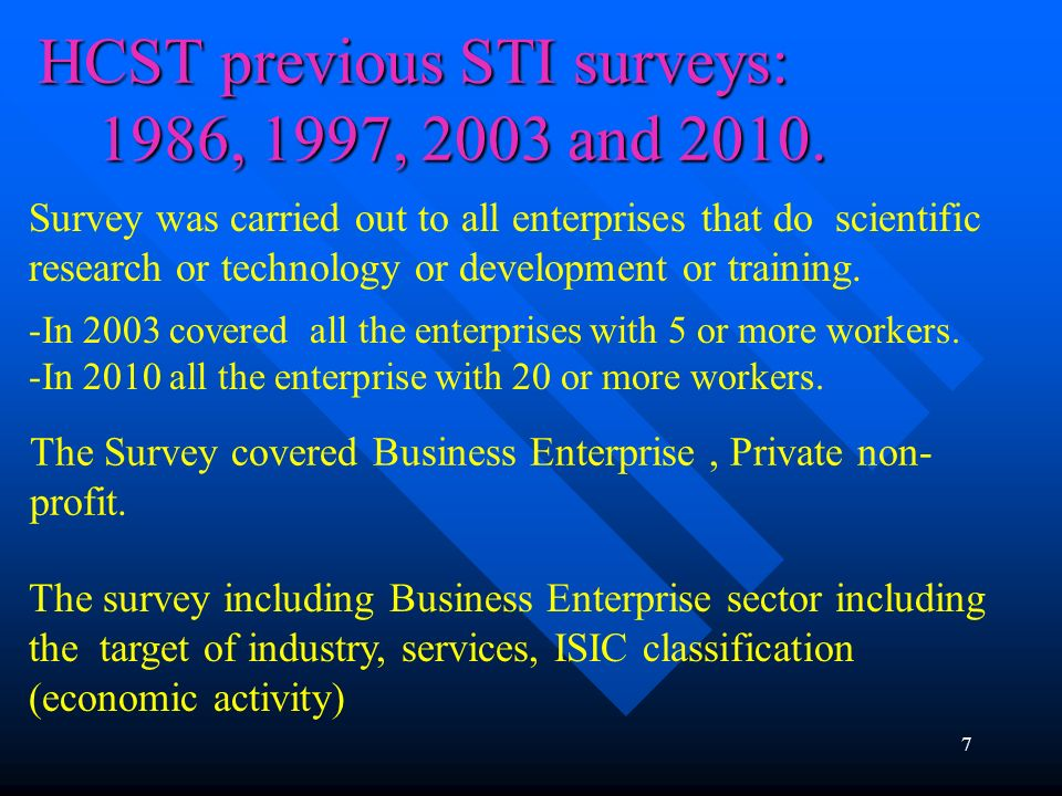 HCST previous STI surveys: 1986, 1997, 2003 and 2010.