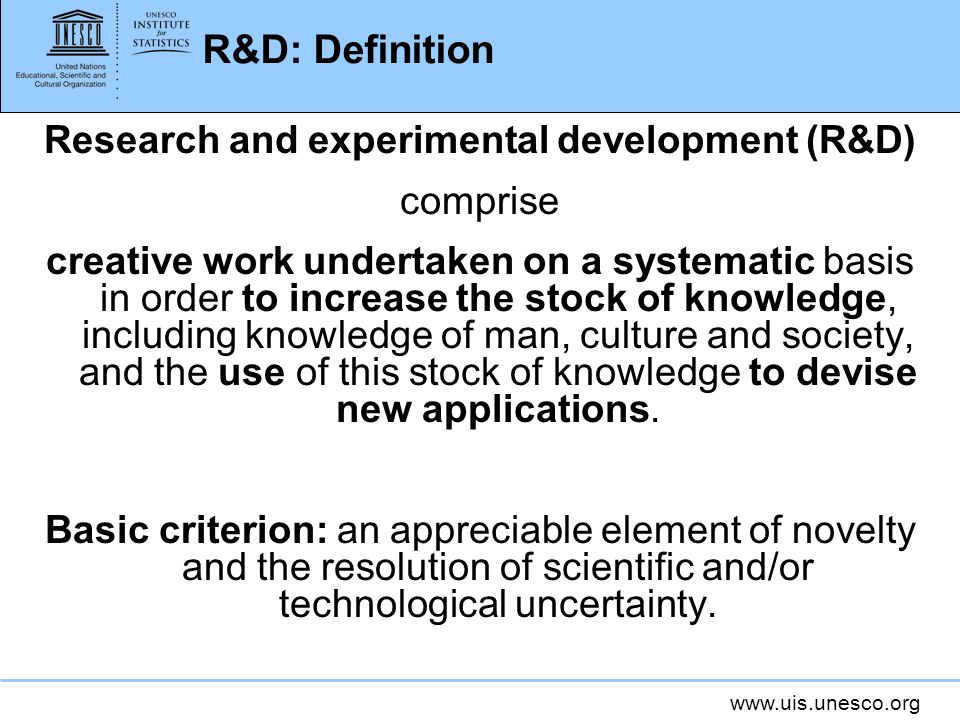 Research and experimental development (R&D)
