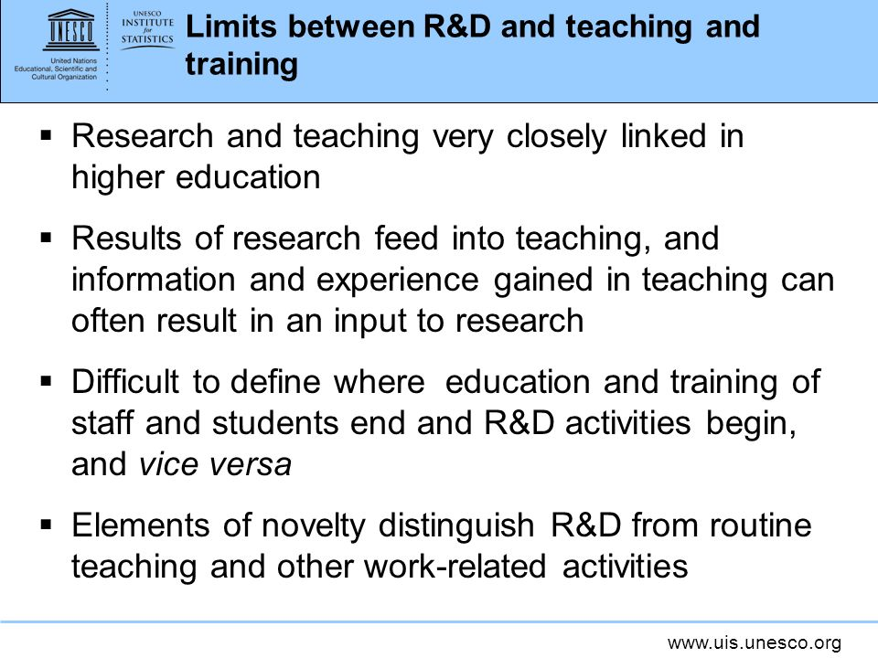Limits between R&D and teaching and training