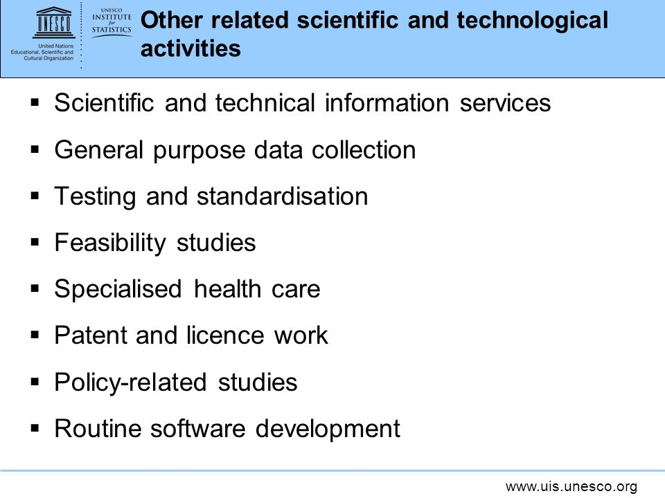 Other related scientific and technological activities