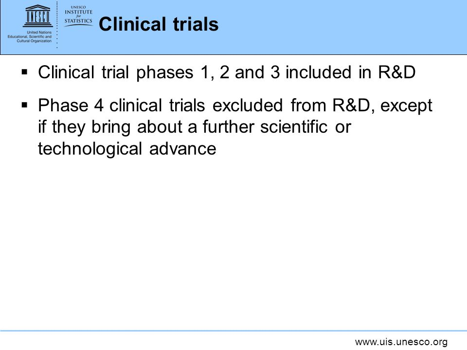 Clinical trials Clinical trial phases 1, 2 and 3 included in R&D
