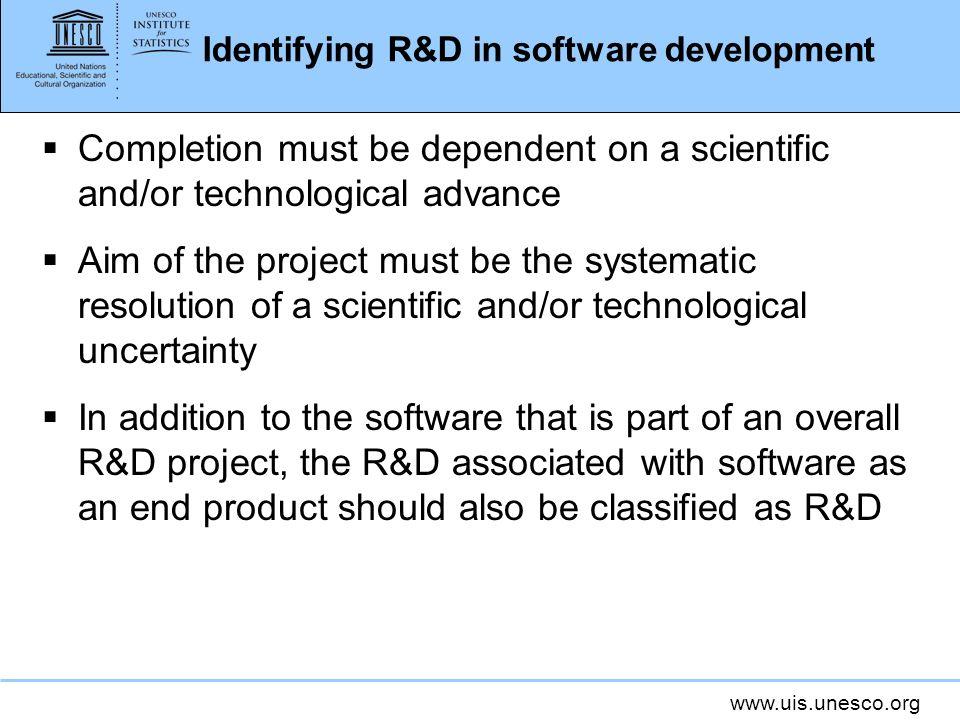 Identifying R&D in software development