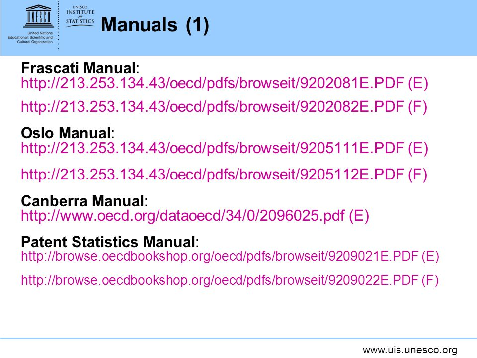 Manuals (1) Frascati Manual: http://213.253.134.43/oecd/pdfs/browseit/9202081E.PDF (E) http://213.253.134.43/oecd/pdfs/browseit/9202082E.PDF (F)