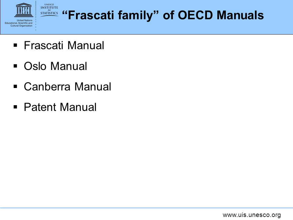 Frascati family of OECD Manuals
