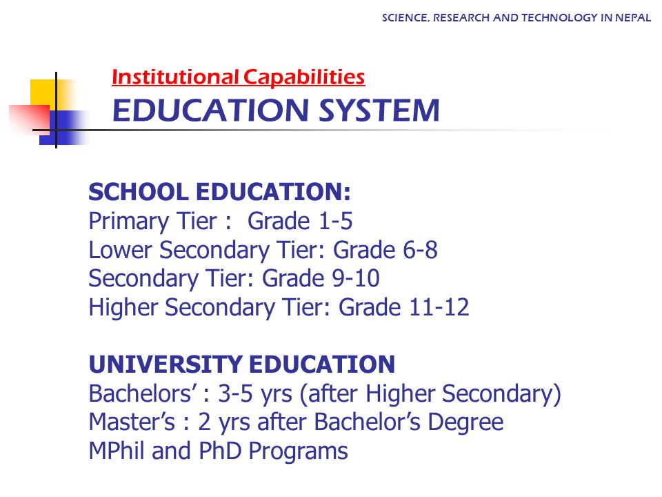 Institutional Capabilities EDUCATION SYSTEM