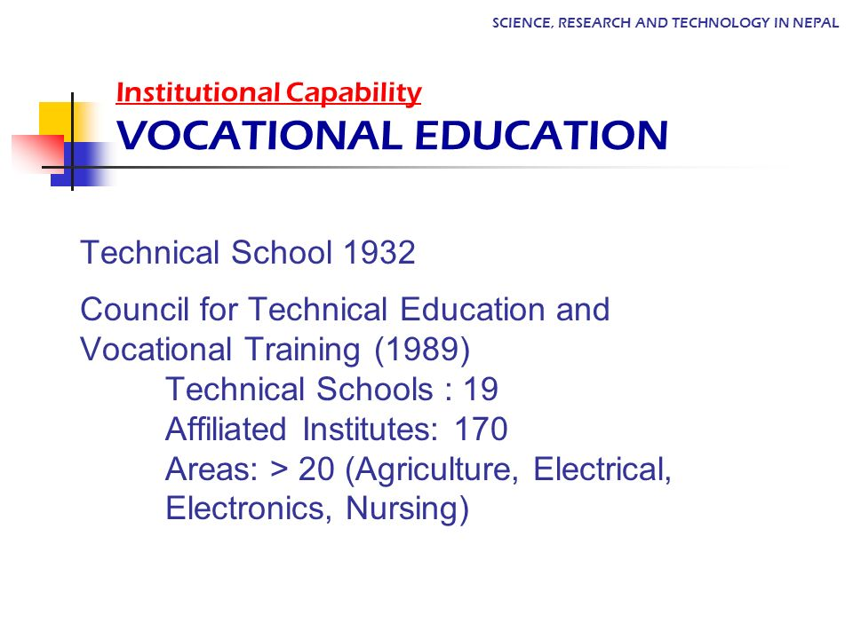 Institutional Capability VOCATIONAL EDUCATION