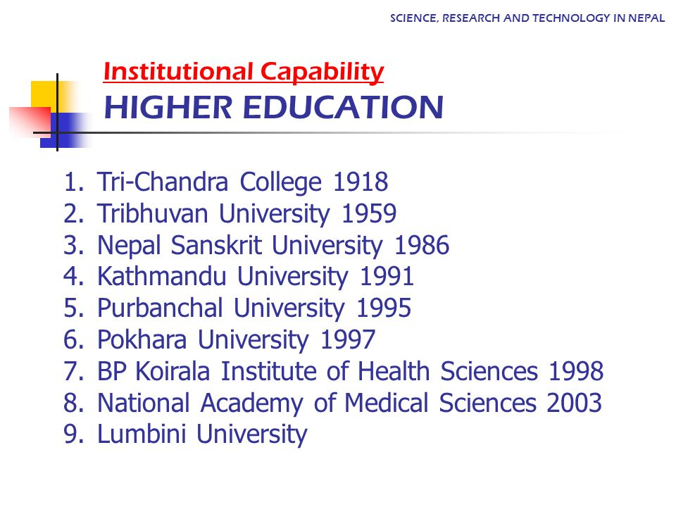 Institutional Capability HIGHER EDUCATION