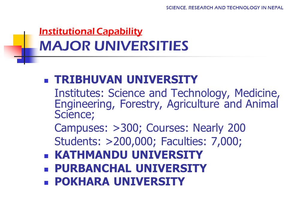 Institutional Capability MAJOR UNIVERSITIES