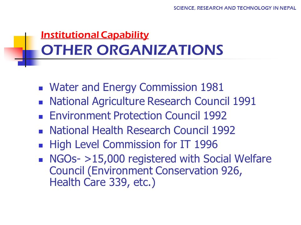 Institutional Capability OTHER ORGANIZATIONS