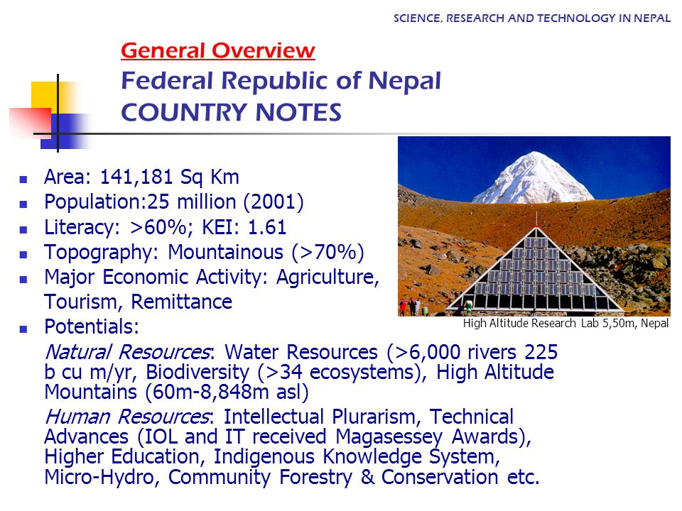 General Overview Federal Republic of Nepal COUNTRY NOTES