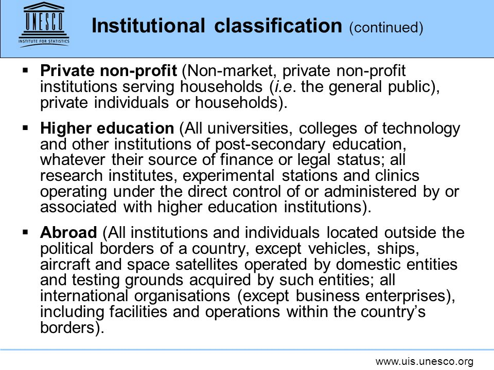 Institutional classification (continued)