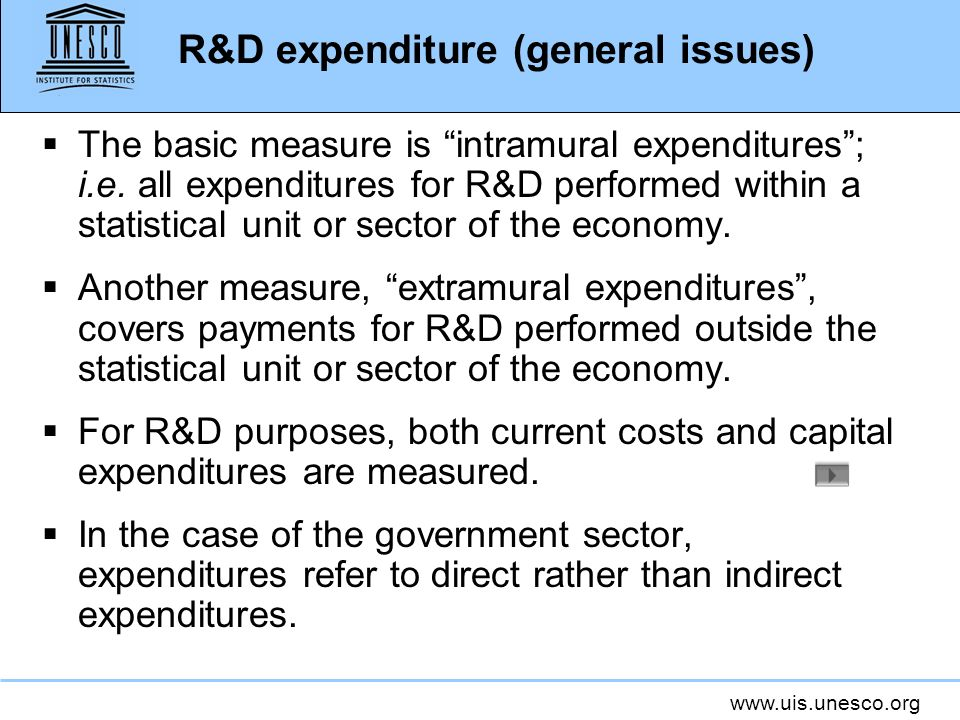 R&D expenditure (general issues)