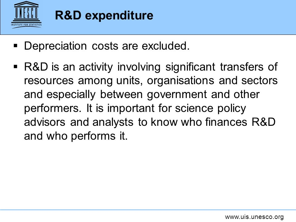 R&D expenditure Depreciation costs are excluded.