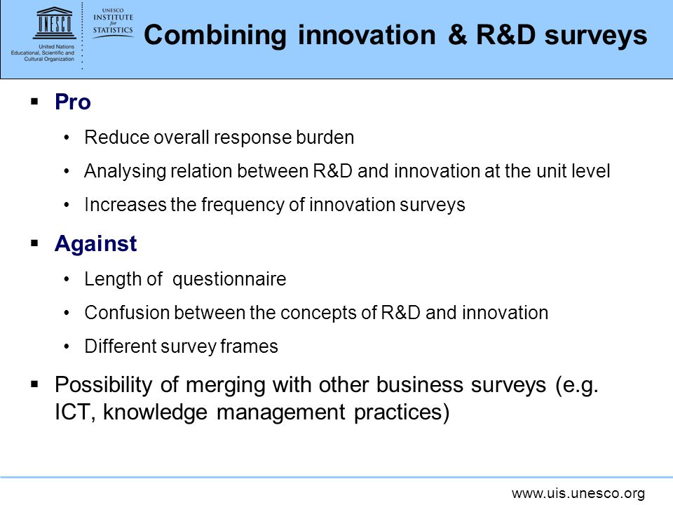 Combining innovation & R&D surveys
