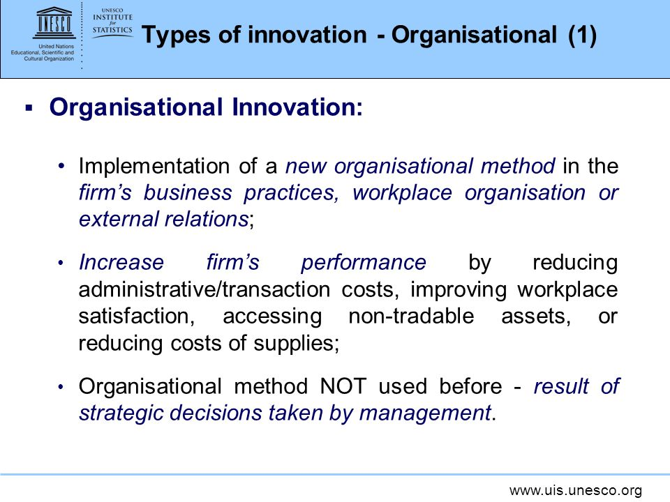 Types of innovation - Organisational (1)