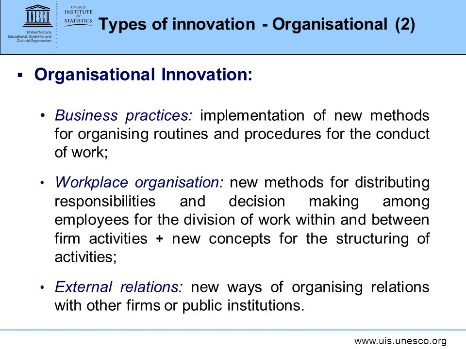 Types of innovation - Organisational (2)