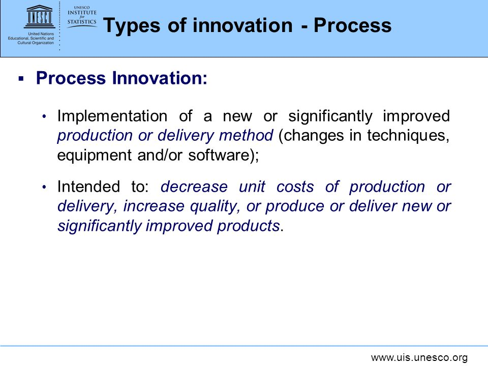 Types of innovation - Process