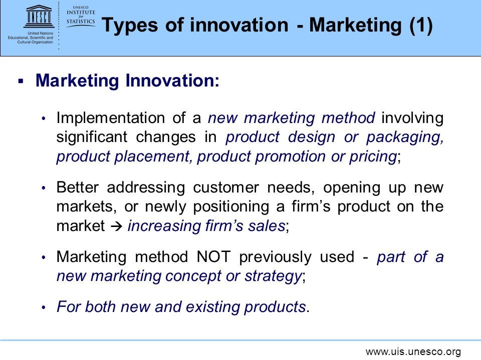 Types of innovation - Marketing (1)