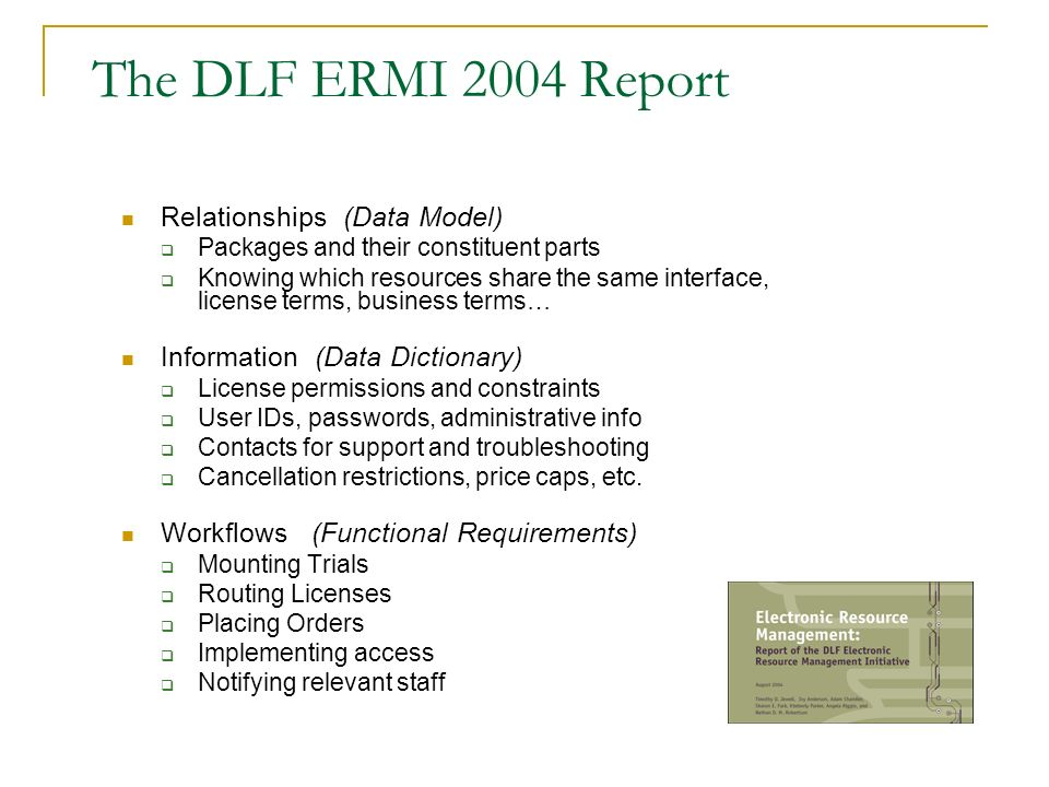 The DLF ERMI 2004 Report Relationships (Data Model)