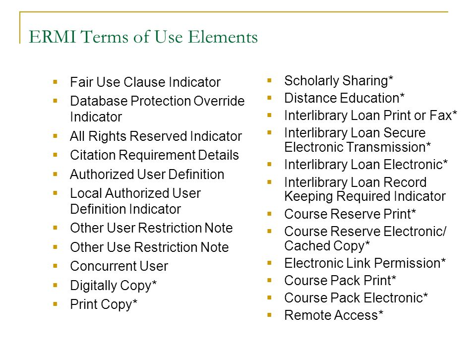 ERMI Terms of Use Elements