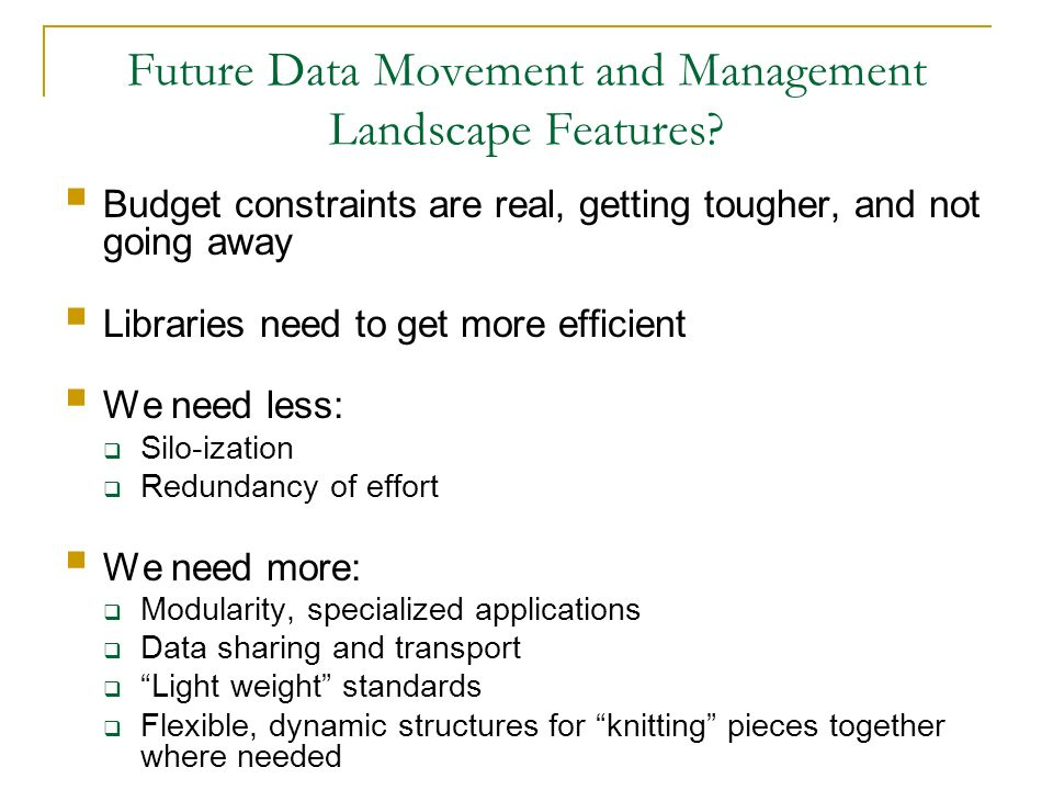 Future Data Movement and Management Landscape Features
