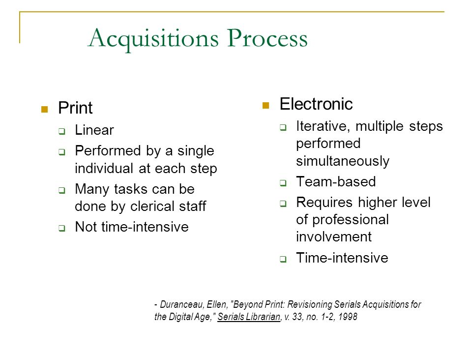 Acquisitions Process Electronic Print