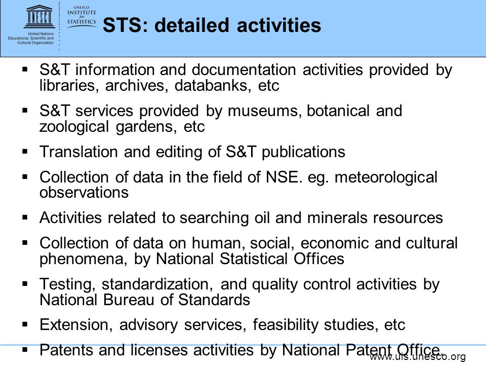 STS: detailed activities