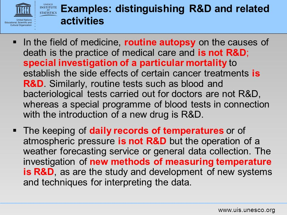 Examples: distinguishing R&D and related activities