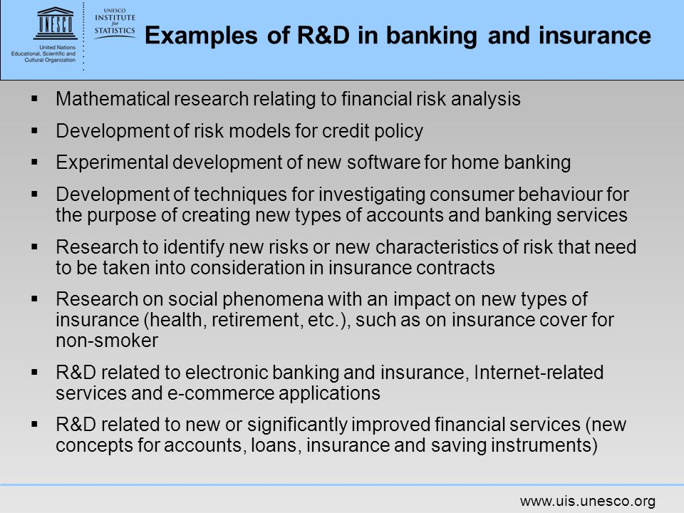 Examples of R&D in banking and insurance