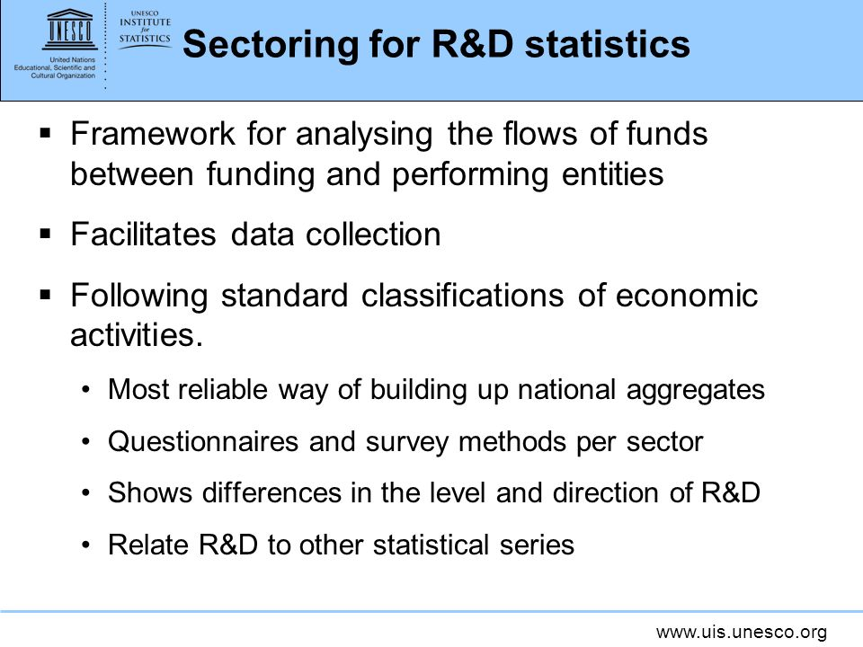 Sectoring for R&D statistics