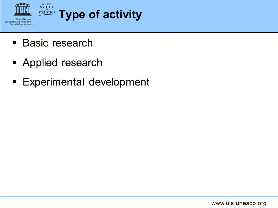 Type of activity Basic research Applied research