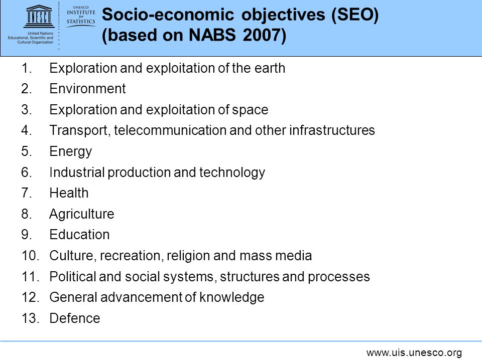 Socio-economic objectives (SEO) (based on NABS 2007)