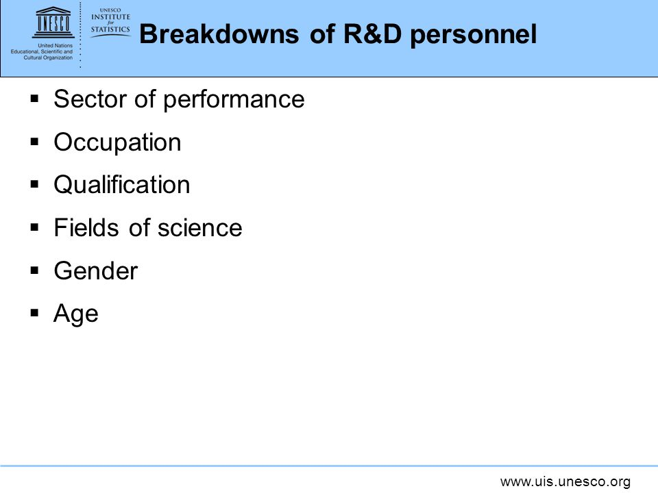 Breakdowns of R&D personnel