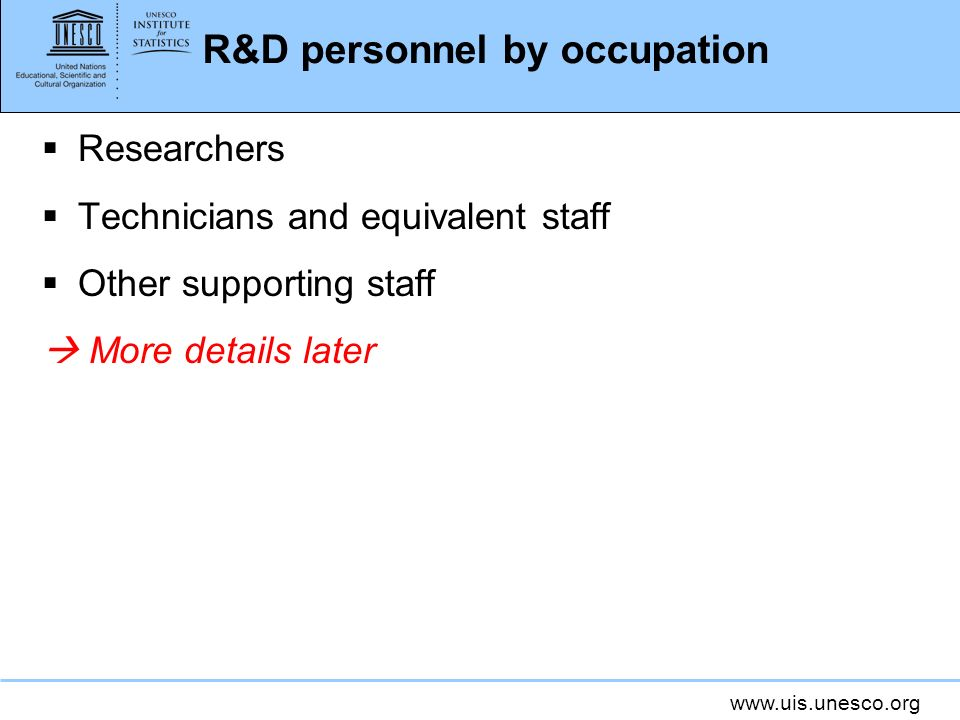 R&D personnel by occupation