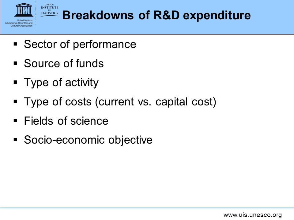 Breakdowns of R&D expenditure