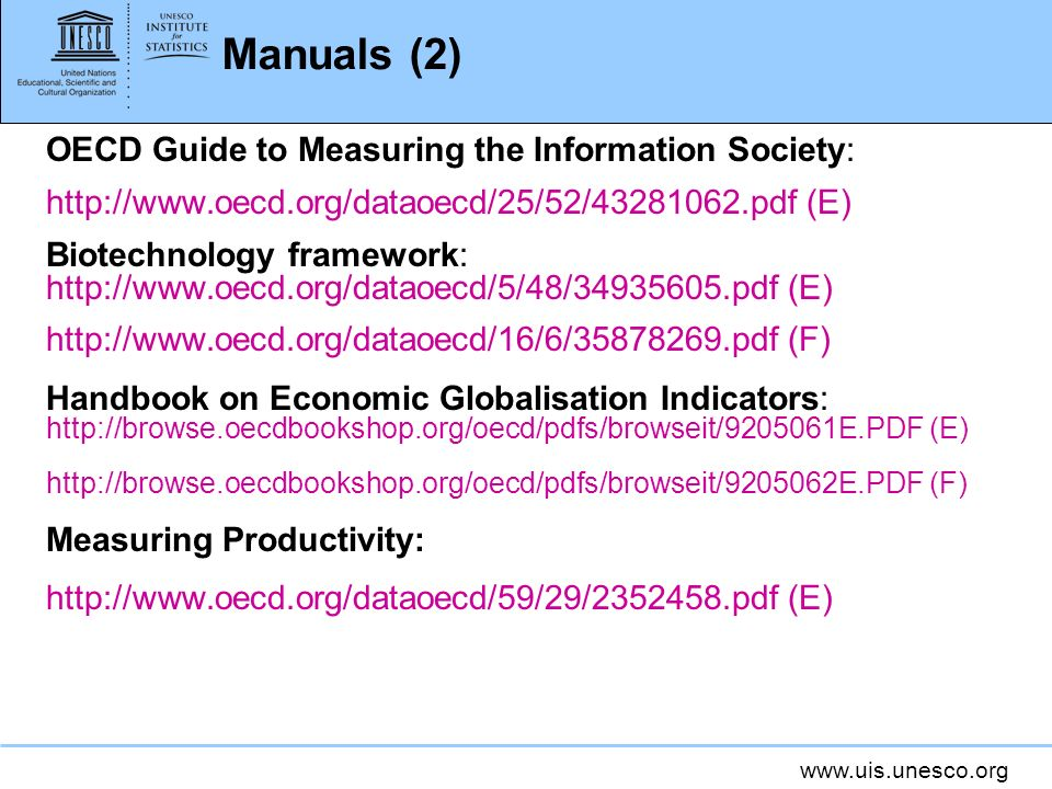Manuals (2) OECD Guide to Measuring the Information Society: