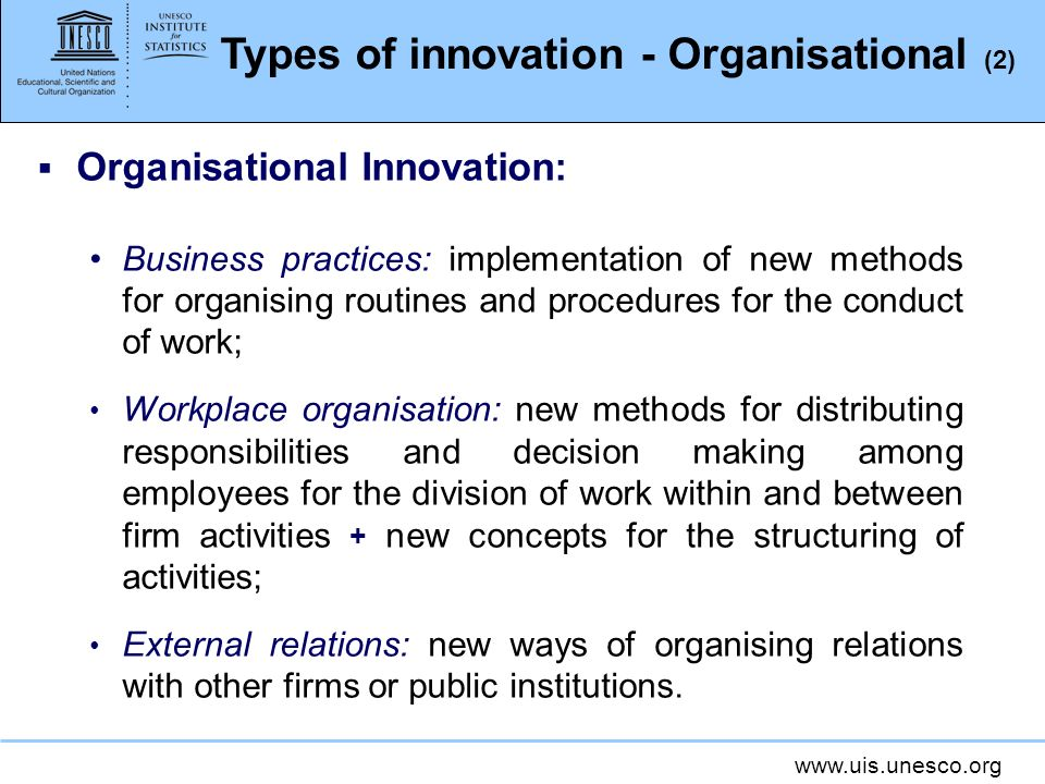 Types of innovation - Organisational (2)