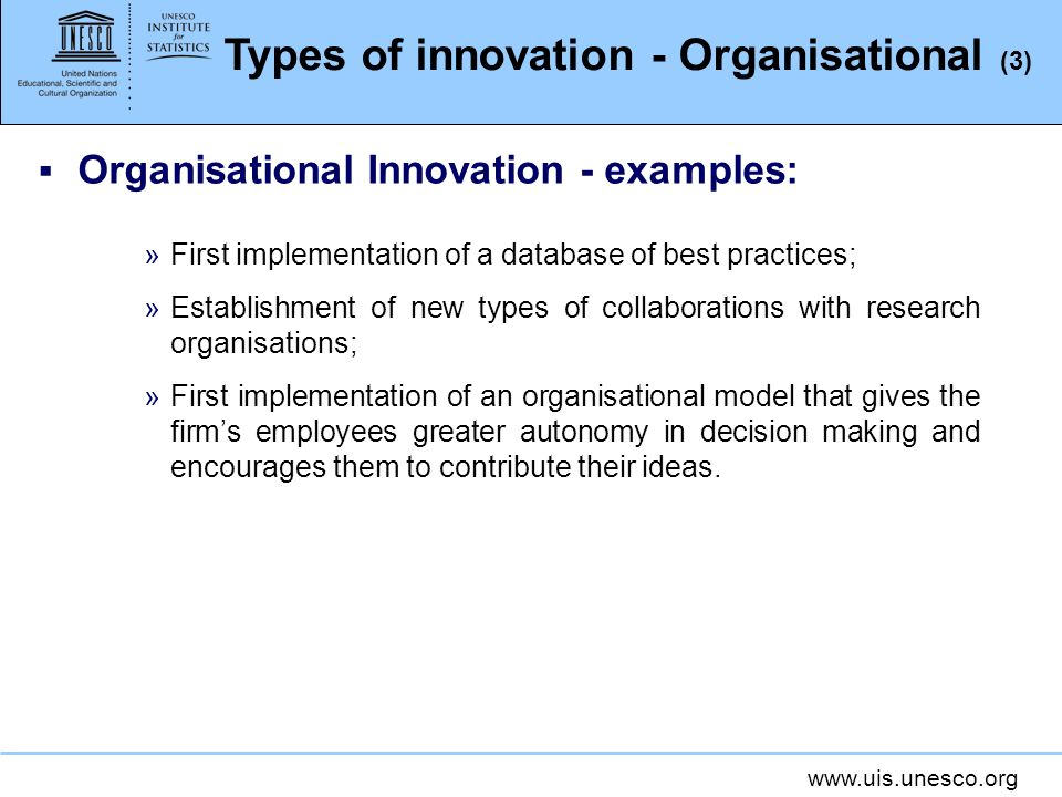 Types of innovation - Organisational (3)
