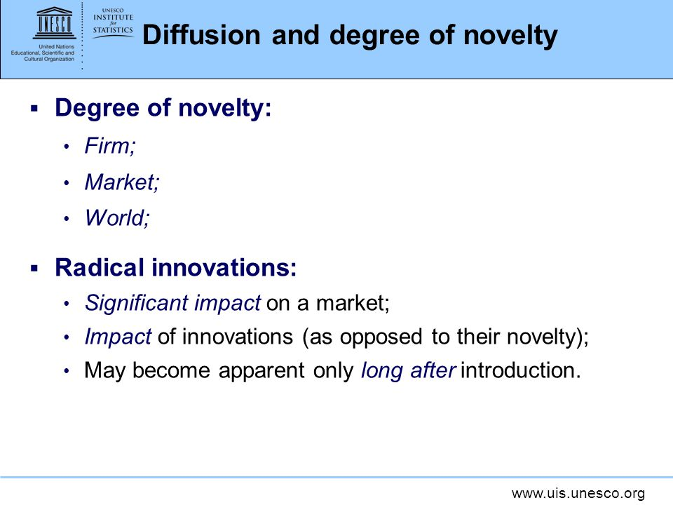 Diffusion and degree of novelty