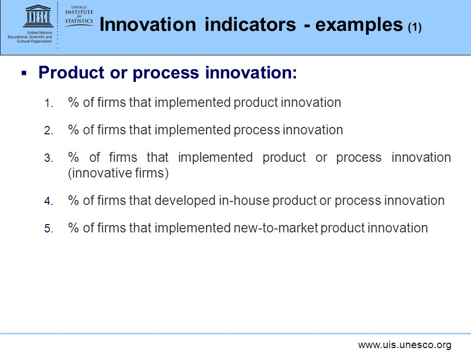 Innovation indicators - examples (1)