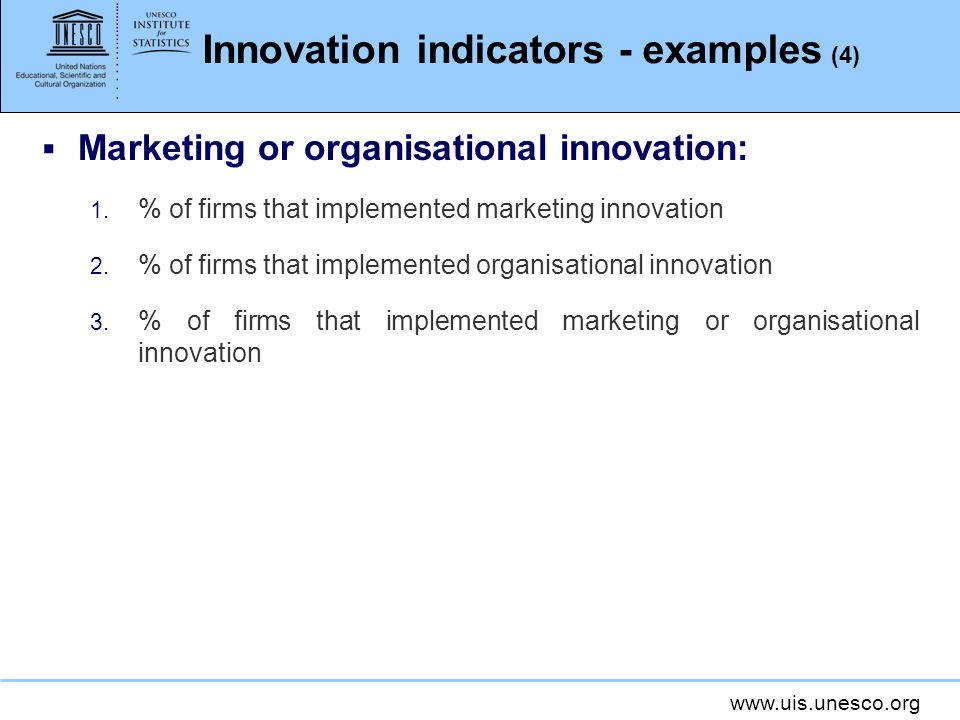 Innovation indicators - examples (4)