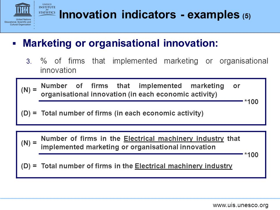 Innovation indicators - examples (5)