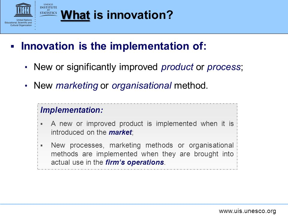 What is innovation Innovation is the implementation of:
