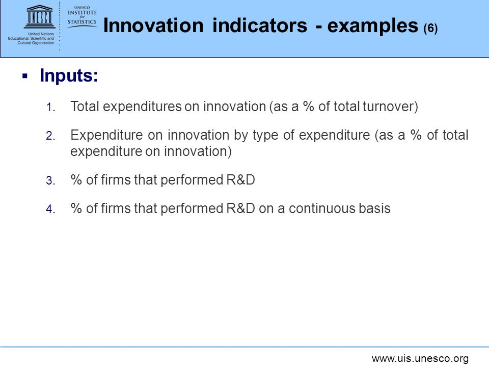 Innovation indicators - examples (6)