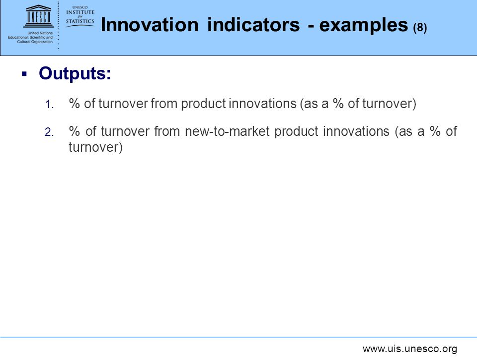 Innovation indicators - examples (8)