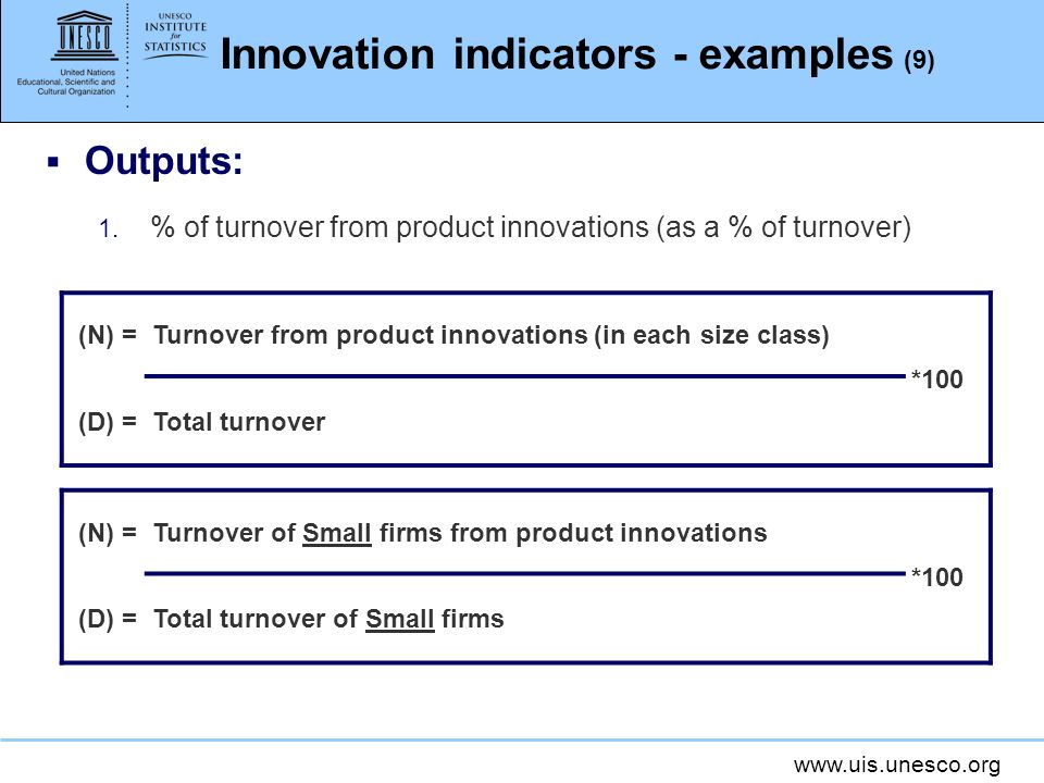 Innovation indicators - examples (9)