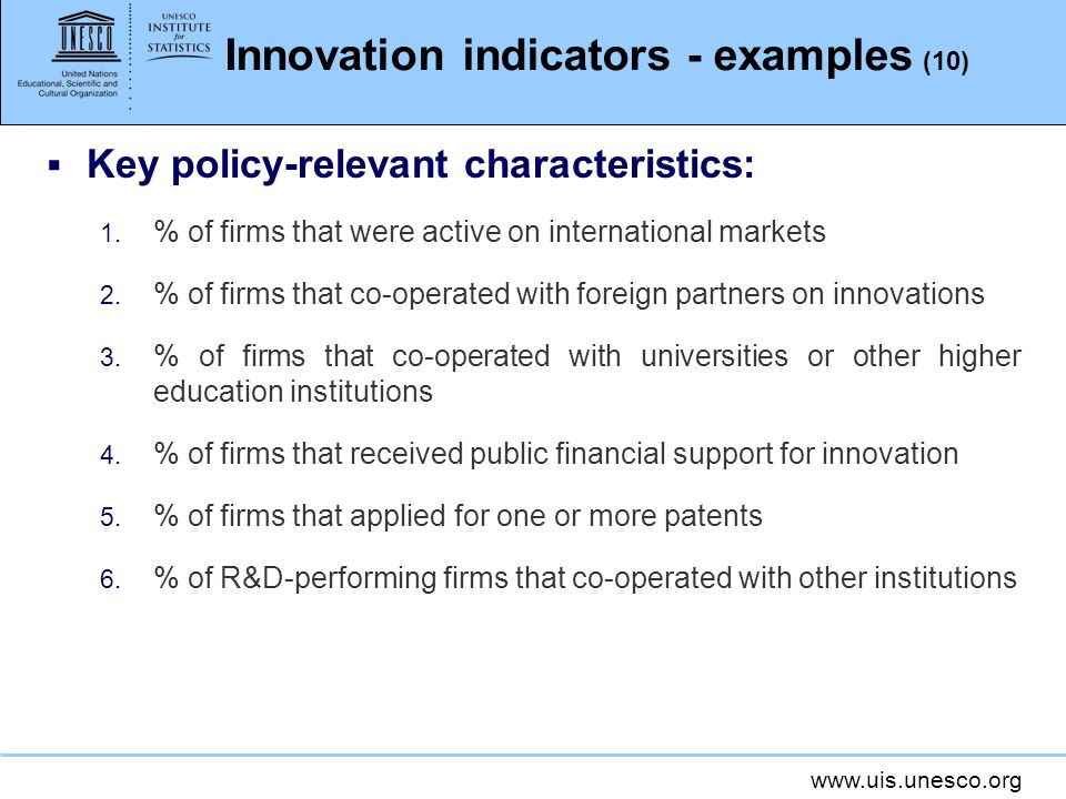 Innovation indicators - examples (10)